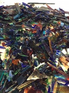 Auswahl der Glasstücke